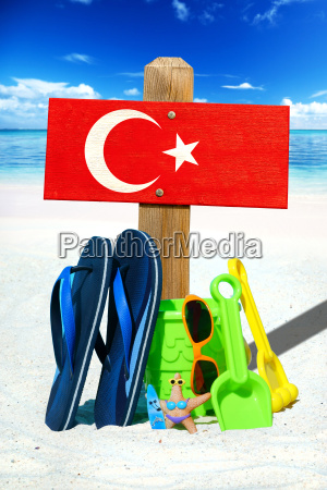 wooden sign with turkey flag on