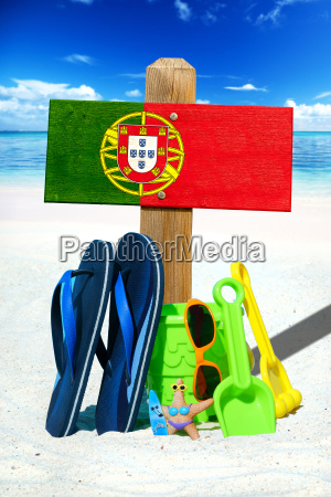 wooden sign with portugal flag on