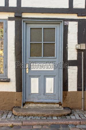 blue wooden door of a half