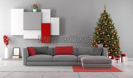 wohnzimmer mit weihnachtsbaum