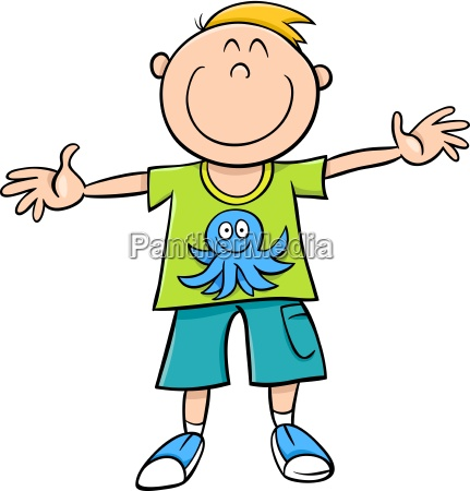 happy boy cartoon illustration