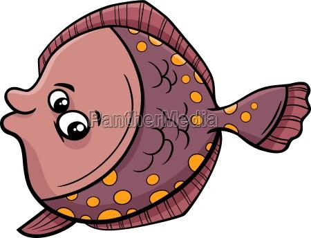 flounder fish cartoon illustration