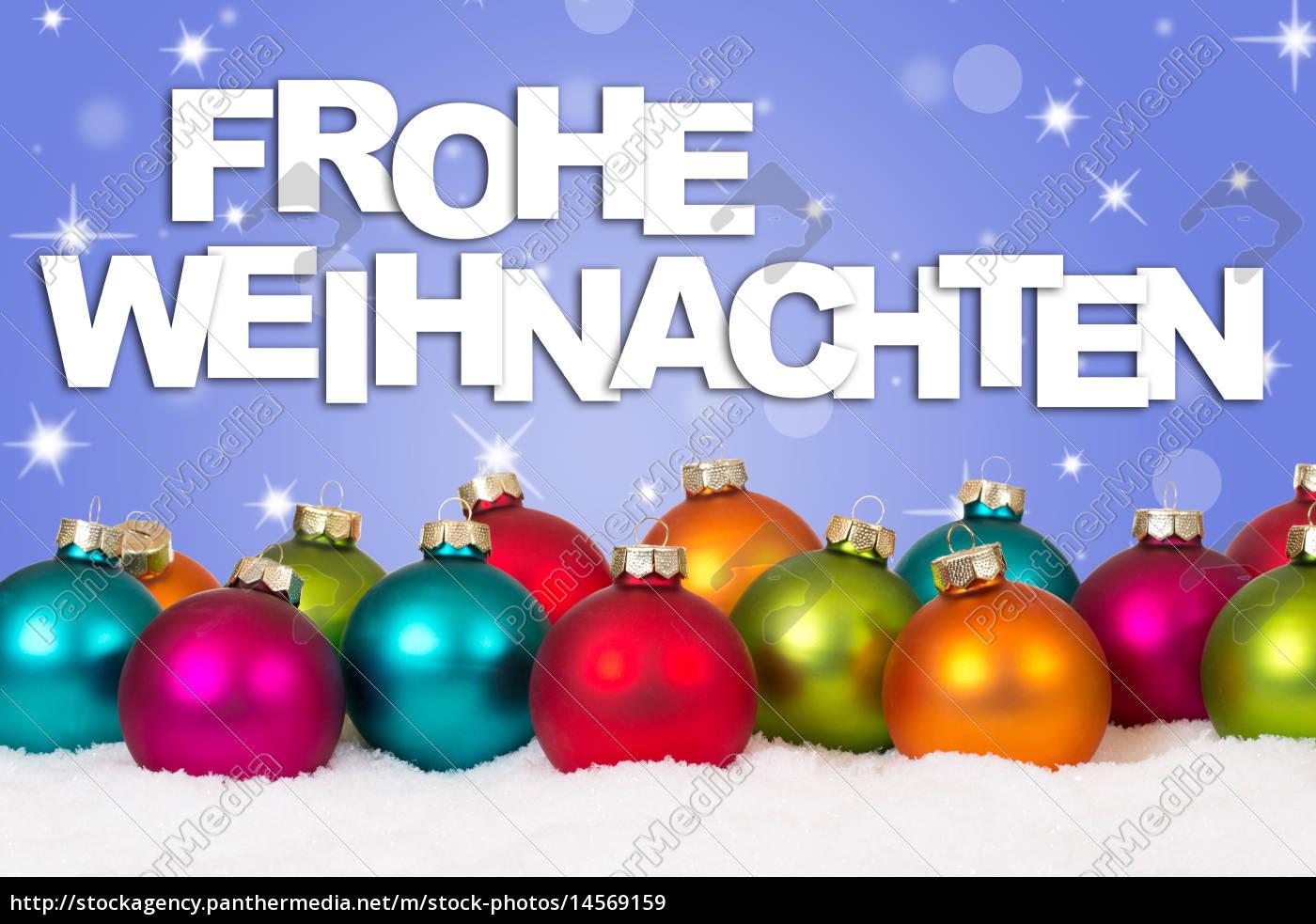 Frohe Weihnachten Hindi.Lizenzfreies Bild 14569159 Frohe Weihnachten Weihnachtskarte Viele Bunte Weihnachtskugeln