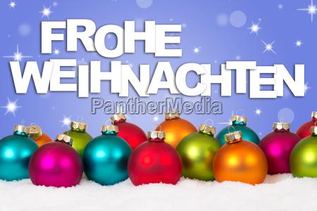 frohe weihnachten weihnachtskarte viele bunte weihnachtskugeln