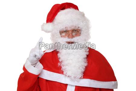 weihnachtsmann nikolaus hebt den finger weihnachten