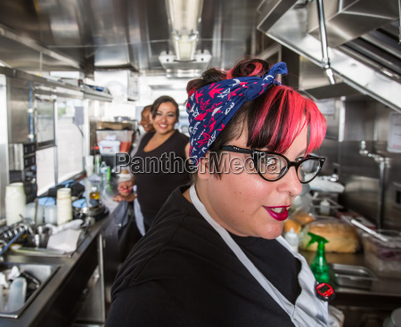 female chef in food truck
