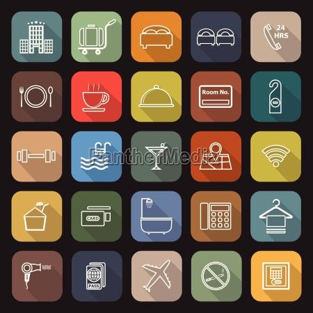 hotel linie flache ikonen mit langen