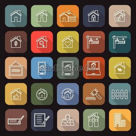 immobilien linie flache ikonen mit langen