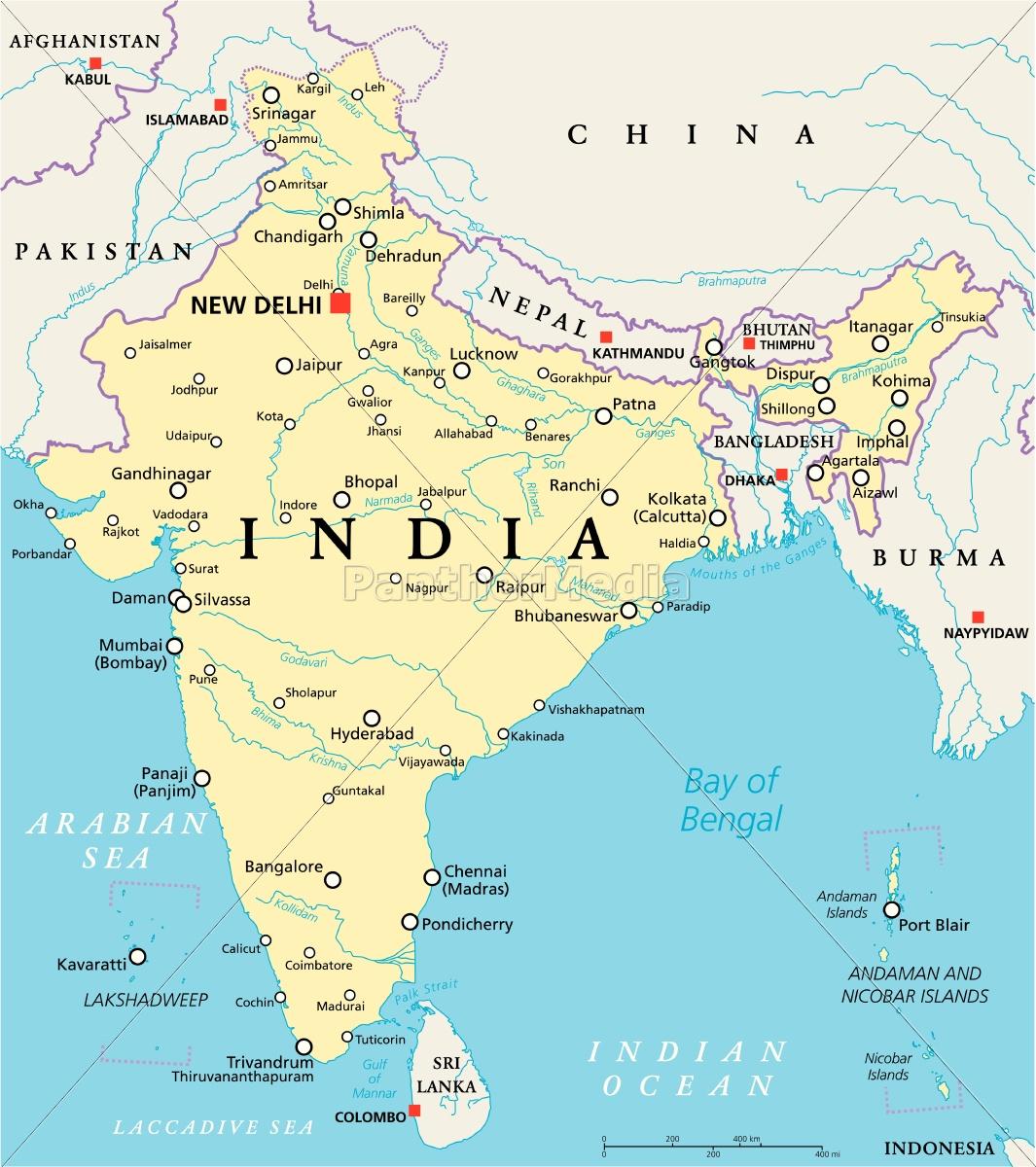 Indiens Politische Karte Stockfoto 14599689 Bildagentur