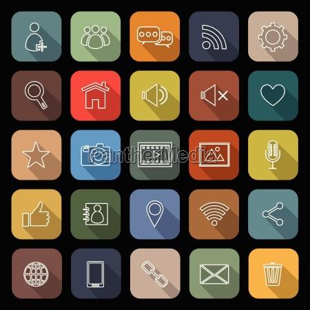 chatlinie flache icons mit langem schatten