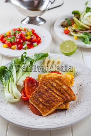 grilled cheese with salsa salad