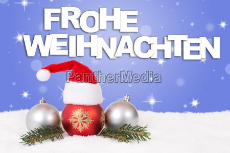 frohe weihnachten weihnachtskarte mit muetze dekoration