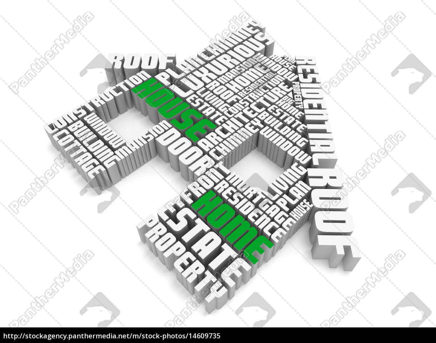 3d gruppe von grün weiß wörter ein haus gestaltung - Lizenzfreies ...