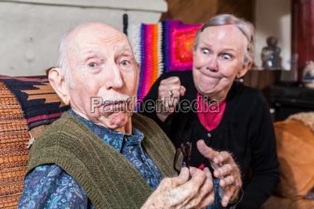 arguing senior couple