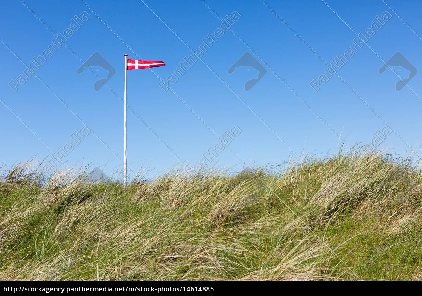 flagge, von, dänemark, in, den, dünen - 14614885