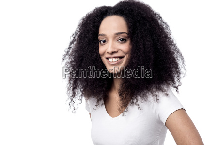 casual woman posing over white