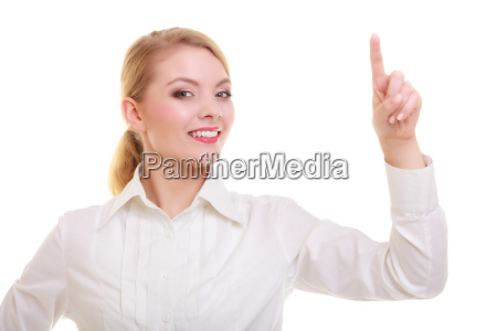 business woman pressing button or pointing