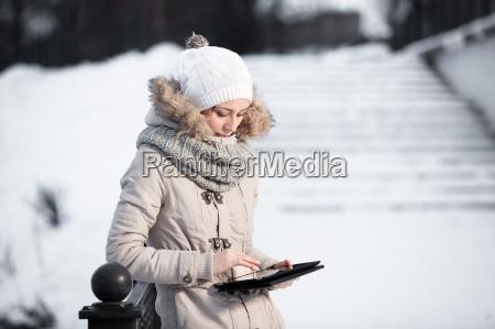 portrait of gorgeous girl wearing winter
