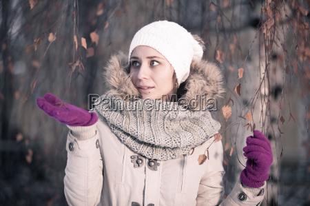 winter beauty fashion joyful face girl