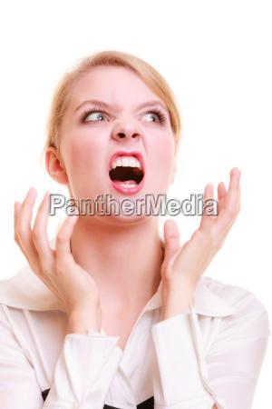 veraergerte geschaeftsfrau schreit wuetend frau