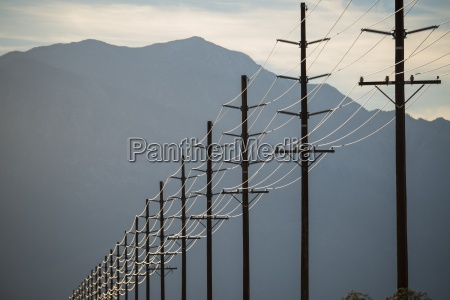 power lines in rows across the