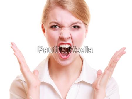 wuetende schreiende frau der veraergerten geschaeftsfrau
