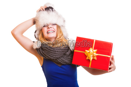 winter girl with red gift box