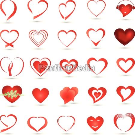 coleccion de corazones insignia boton