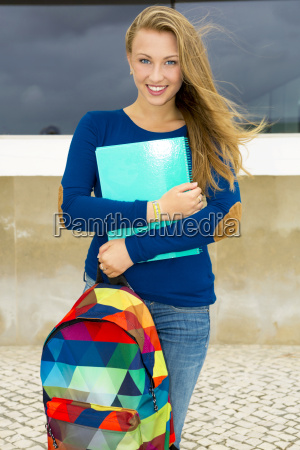 a beautiful student in the college