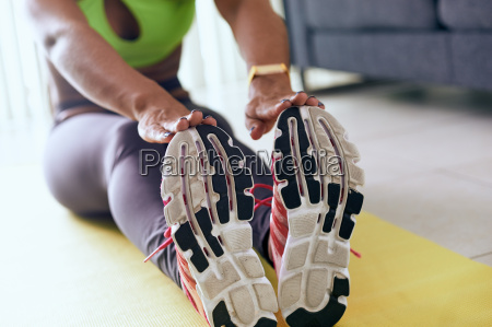 home fitness black woman doing workout