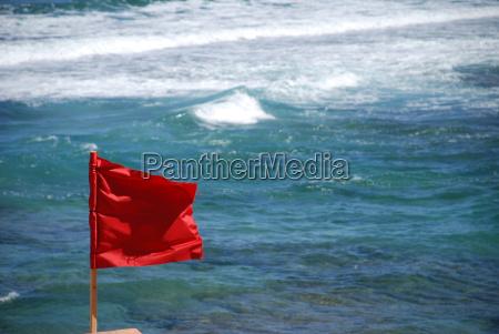 baden, verboten, lebensgefahr, rote, fahne, flagge - 14656455