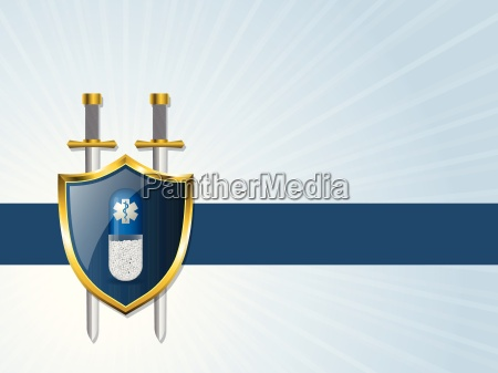 medical advertising background with bursting shield