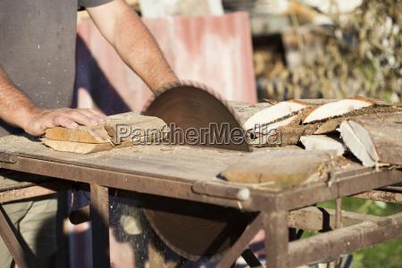 lumberman arbeiten an kreissaege