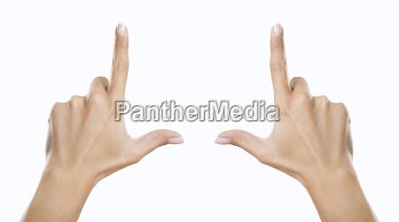hands showing frame