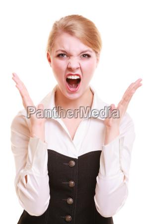 veraergerte geschaeftsfrau schreien wuetend frau