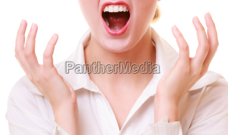 mouth of angry businesswoman furious woman