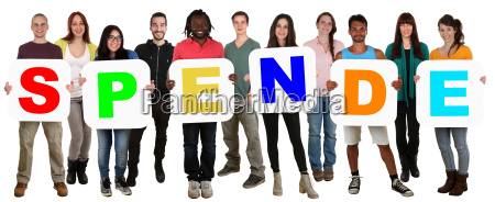 group of young people keep multicultural