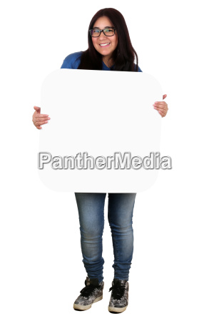 young latin american woman holding the