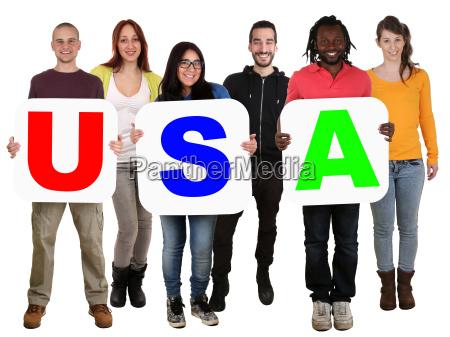 gruppe, junge, leute, people, multikulturell, halten - 14678673