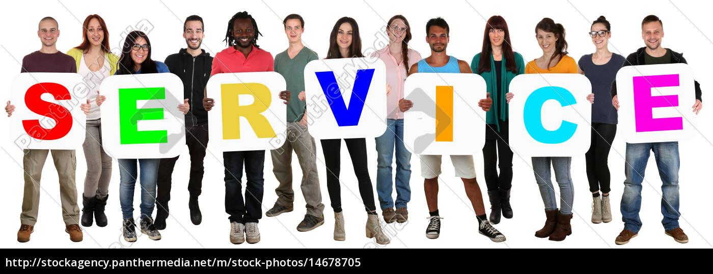 gruppe, junge, leute, people, multikulturell, halten - 14678705