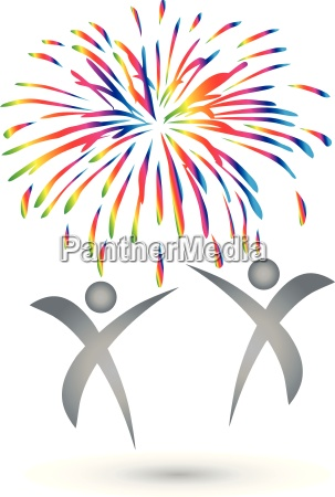 people fireworks explosion logo