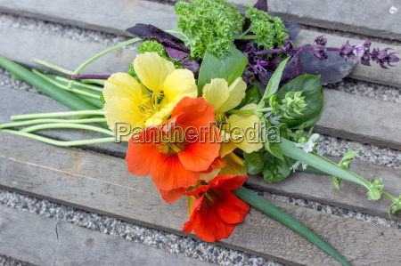 colorful bouquet with garden herbs
