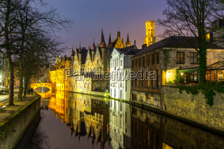 bruges belgium at dusk