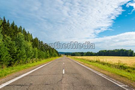 autobahn in northen landschaft mit wald