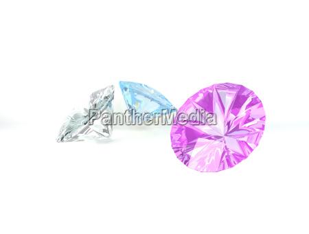 diamanten auf weissem hintergrund