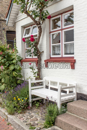 house with roses lavender and garden