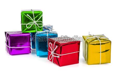 gruppe von bunten geschenk boxen mit