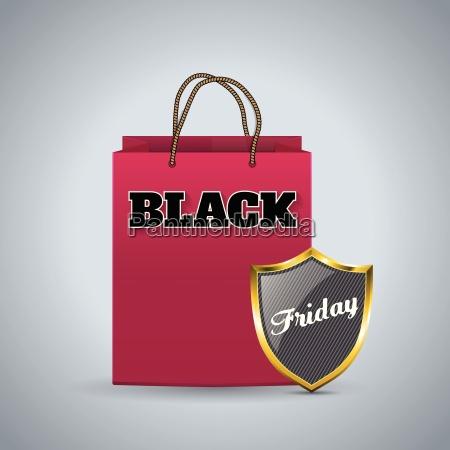 black friday werbung hintergrund mit einkaufstasche