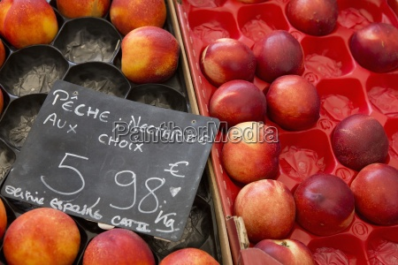 boxen von nektarinen auf einem obststand