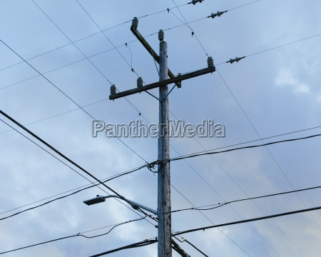 telephone pole and electrical power lines